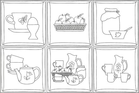 fruit basket: icons , pencil drawing, set of flat kitchen items  pattern with black lines on a white background, Pattern for coloring book Illustration
