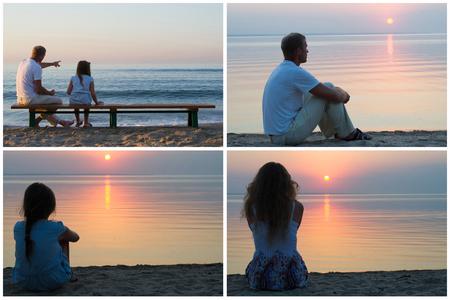 mujer mirando el horizonte: collage de fotos conjunto de un hombre, un niño y una niña sentada en una playa en un ligero vestido de verano, la puesta de sol en el mar en el horizonte Foto de archivo