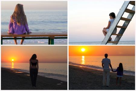 mujer mirando el horizonte: collage de fotos establece el hombre en la playa viendo la puesta de sol en el mar Foto de archivo