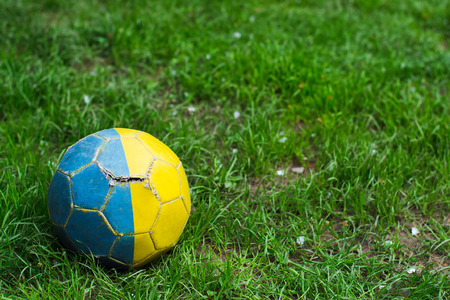old shabby soccer ball on grass with space for writing