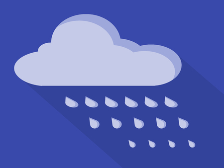 metrology: Simple cloud icon with rain drops Illustration