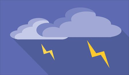 metrology: Simple clouds icon with lightning