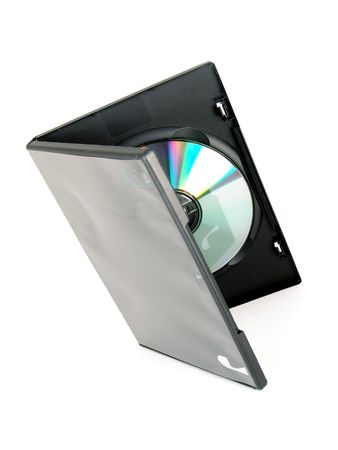 DVD  CD black case isolated on white background Stock Photo