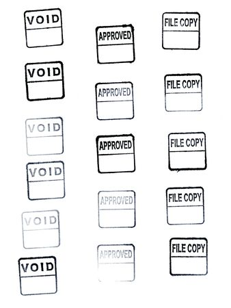void, approved, file copy rubber stamp imprinted with black ink on white Stok Fotoğraf