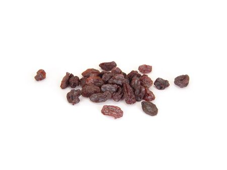 small pile of raisins isolated on white background