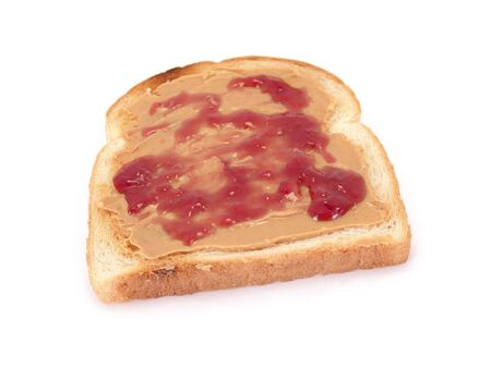 pb: peanut butter and jelly on toasted white bread