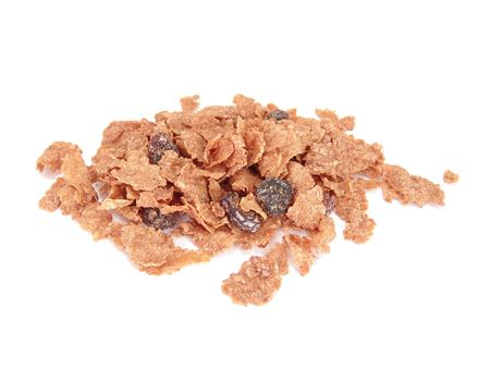 small pile of raisin bran cereal isolated on white