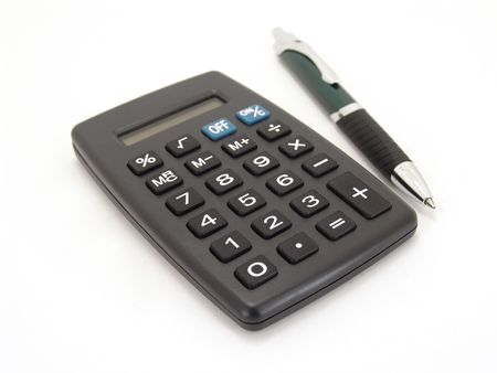 black calculator with ink pen isolated on white background