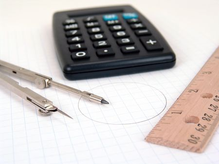 Calculator Compass And Ruler Over Graph Paper Stock Photo Picture