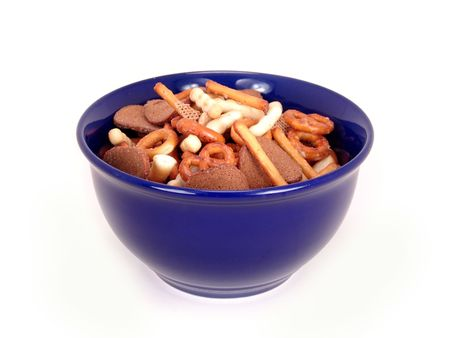 party mix in blue bowl isolated on white background