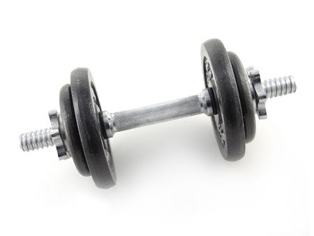 dumbbell with black weights and sliver handle isolated on white background Imagens