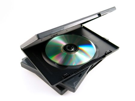 DVD  CD black case isolated on white background Stock Photo
