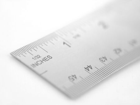 silver metal ruler isolated on white background