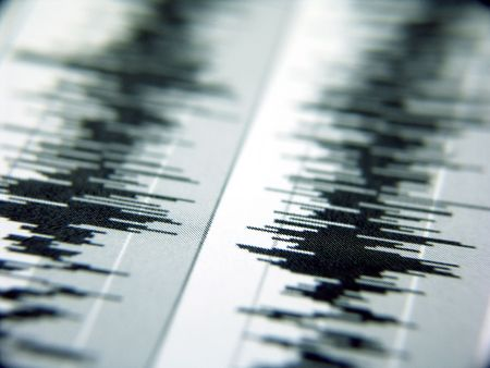 waveform in stereo created in audio editing program Stock Photo