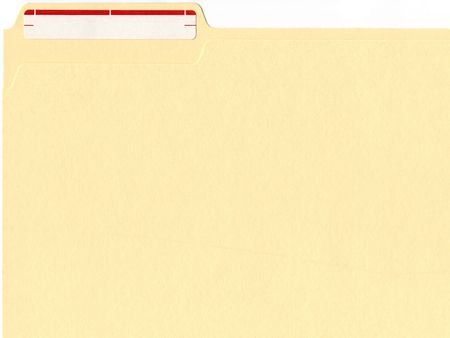 classic manilla file folder with red and white label