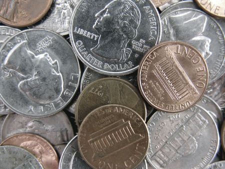close quarters: close up of spare change - nickels, dimes, quarters, pennies Stock Photo