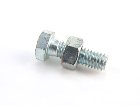 single nut and bolt isolated on white background Reklamní fotografie