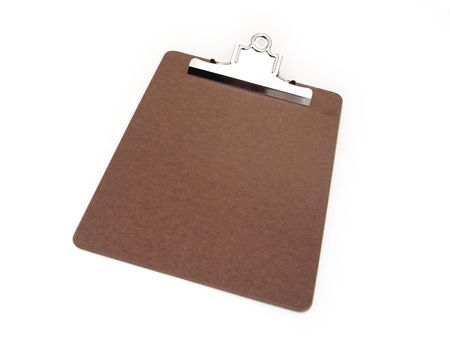 wooden clipboard with silver metal clasp over white background Stock fotó