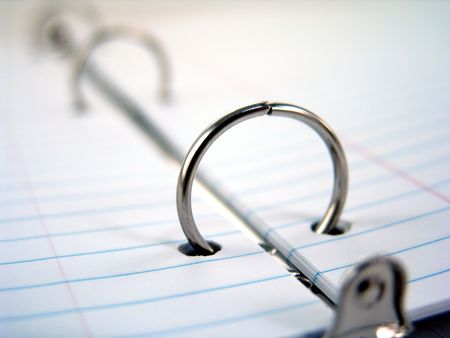 clasps: close up of clasps in 3-ring binder Stock Photo
