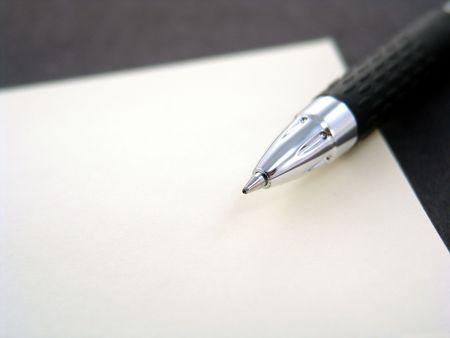 ペンで黄色の付箋