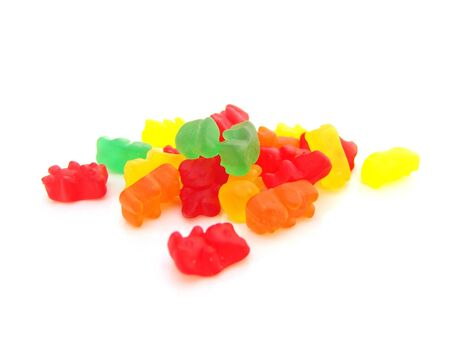 Gummy: small pile of gummy bears isolated over white background Stock Photo