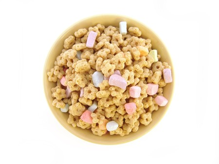 bowl of marshmallow kids cereal isolated over white Imagens