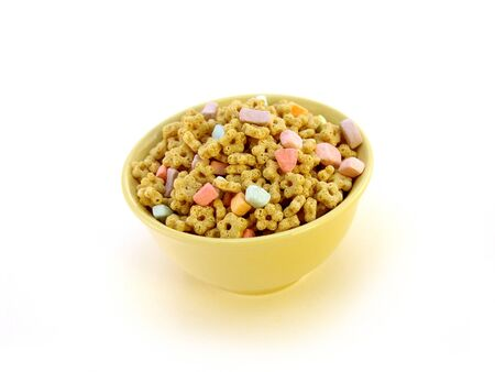 marshmallow: bowl of marshmallow kids cereal isolated over white Stock Photo