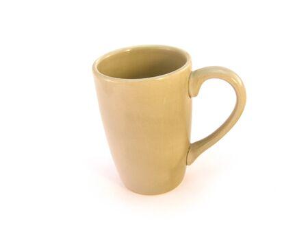 green ceramic mug isolated over white background Stock Photo