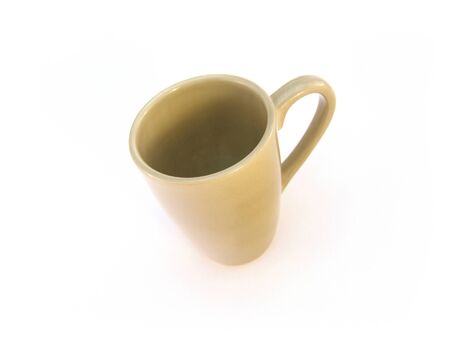 green ceramic mug isolated over white background Stok Fotoğraf