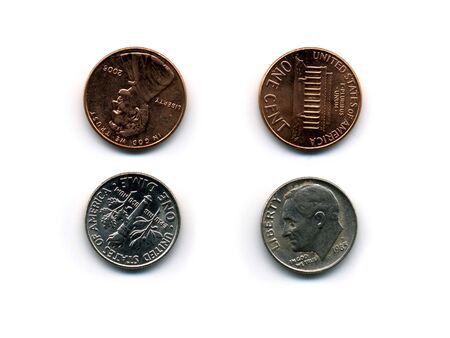 dime: isolated silver and copper metal coins, penny and dime