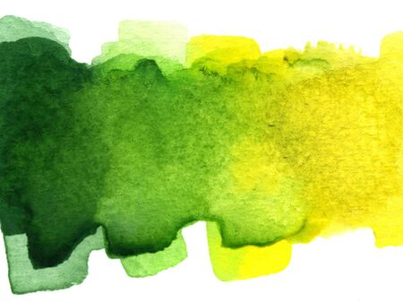 abstract green and yellow blended watercolor blotch on white watercolor paper