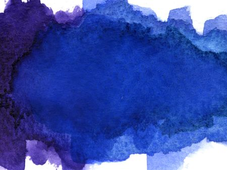 abstract blue and purple blended watercolor blotch on white watercolor paper