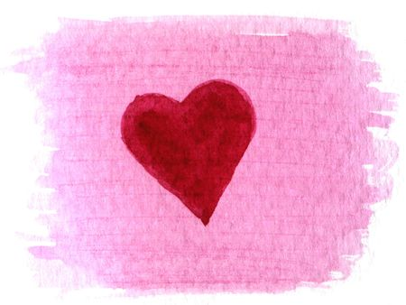 red heart painted over pink watercolor blotch background photo
