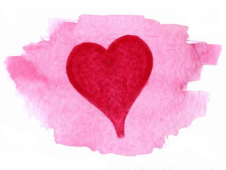 red heart painted over pink watercolor blotch background Stock Photo