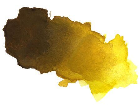 abstract brown, tan, yellow blended watercolor blotch on white watercolor paper