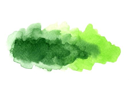 green watercolor paint applied on white paper Stock Photo