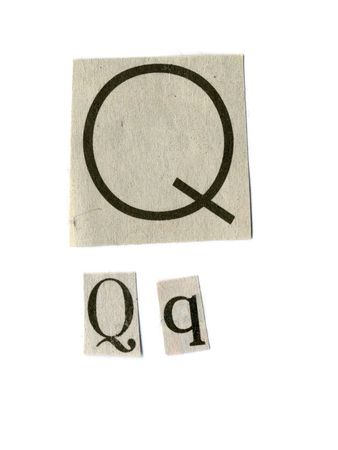 newsprint: letter q cut from newsprint paper isolated on white