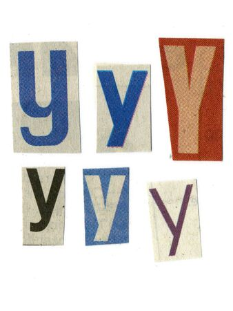 newsprint: letter y cut from newsprint paper isolated on white