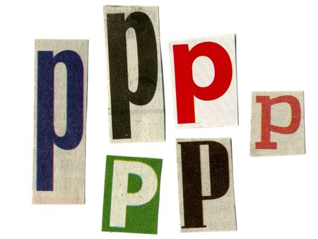 newsprint: letter p cut from newsprint paper isolated on white