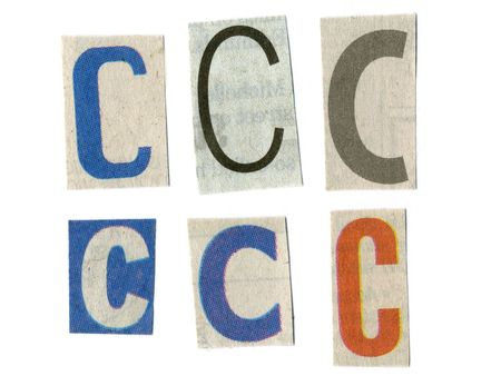 letter c: letter b cut from newsprint paper isolated on white Stock Photo