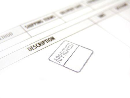 approved stamped in black ink imprinted on invoice       版權商用圖片