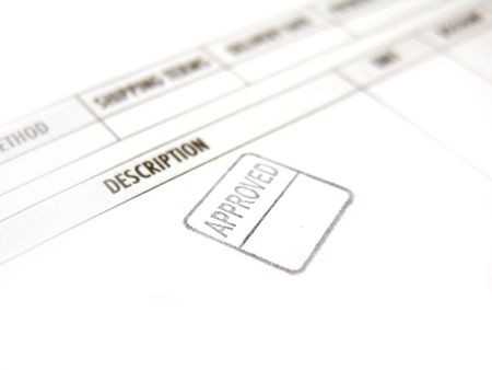 approved stamped in black ink imprinted on invoice       photo