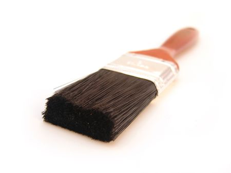 paint brush with wood handle and black bristles isolated over white Stok Fotoğraf