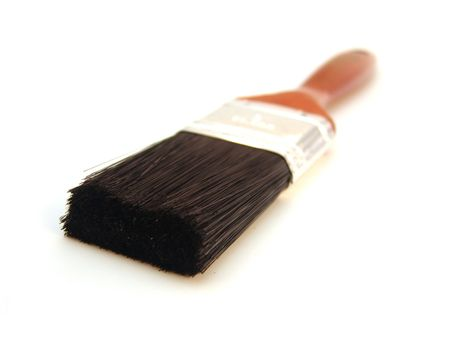 bristles: paint brush with wood handle and black bristles isolated over white Stock Photo