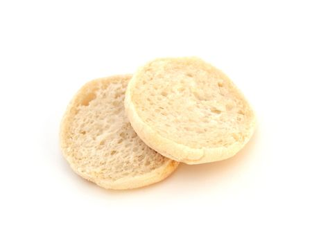 plain white english muffin isolated over white background Stock Photo