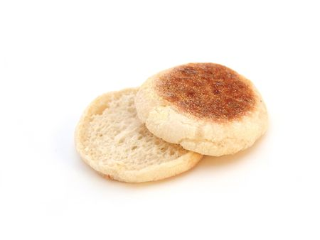 plain white english muffin isolated over white background Stock Photo