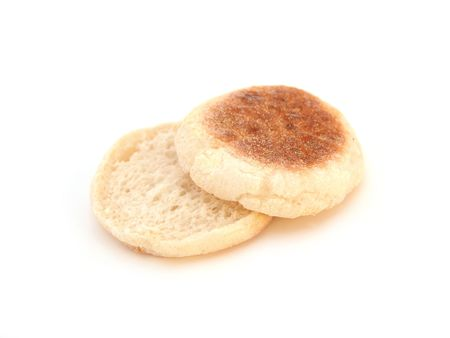 plain white english muffin isolated over white background 版權商用圖片
