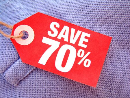 red price tag with save seventy percent