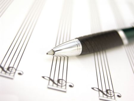 sheet music with pen Stock Photo