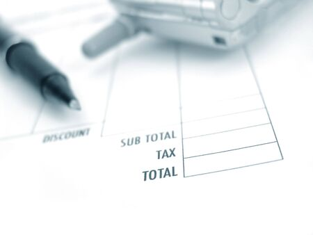 invoice, pen and phone                         Stock Photo